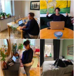 Fatim Diarra jobbar från flera olika rum och positioner. Bild: Fatim Diarra
